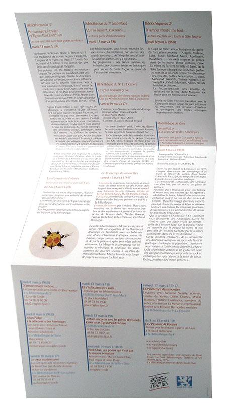 Création graphique de Plaquette culturelle pour les Bibliothèques de Lyon - Printemps des poètes