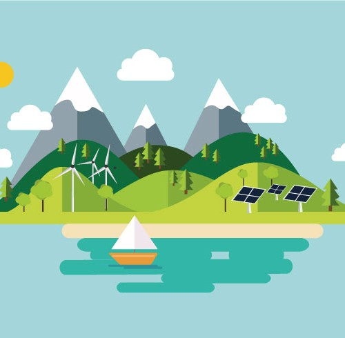 Illustration en flat design nature écologie