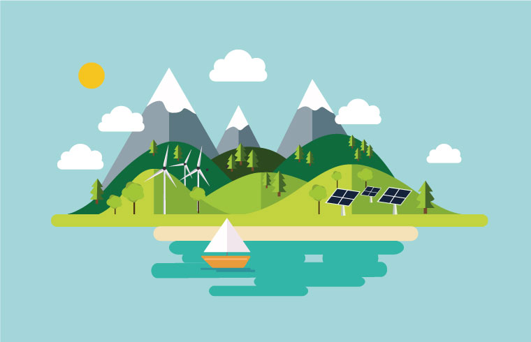 illustration en flat design - nature-écologie