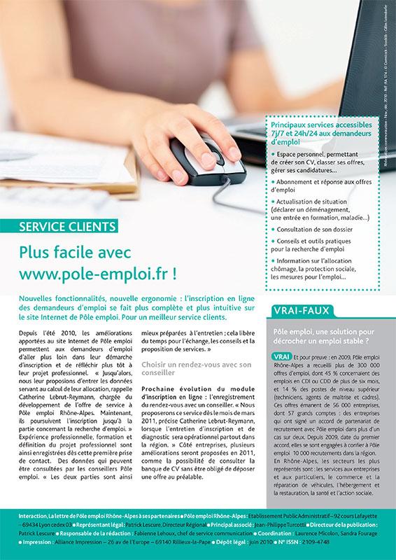 Graphiste à Lyon crée la lettre interne de pole emploi, Lyon