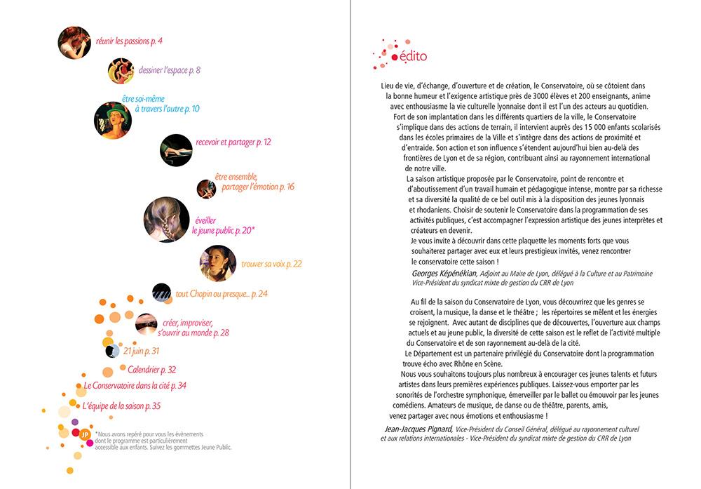 graphisme culturel - création graphique de plaquette Culturelle pour le Conservatoire de Lyon